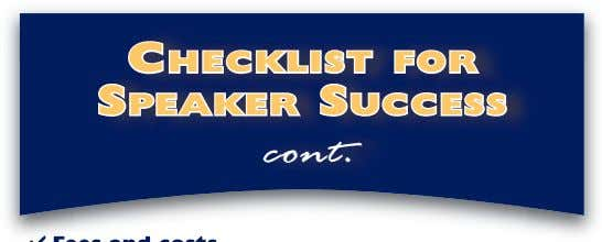 C HECKLIST FOR S PEAKER S UCCESS