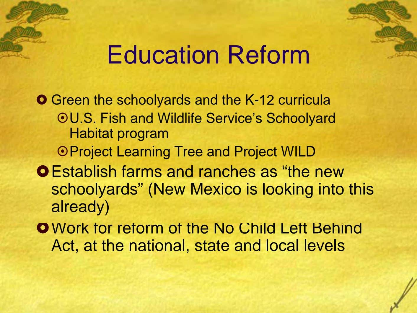 Education Reform Green the schoolyards and the K-12 curricula U.S. Fish and Wildlife Service's Schoolyard Habitat
