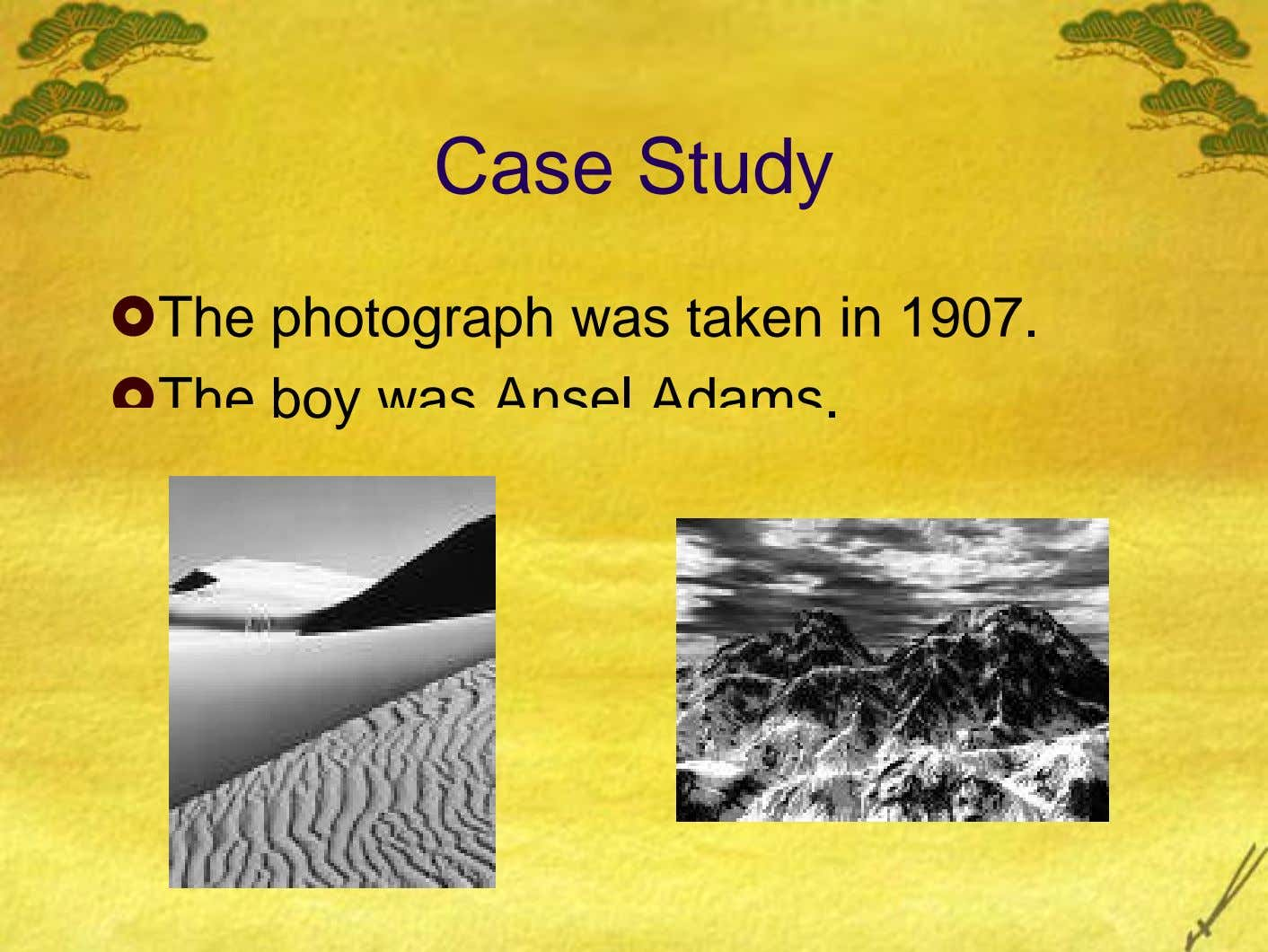 Case Study The photograph was taken in 1907. The boy was Ansel Adams.