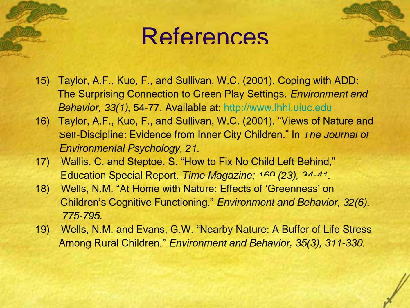 References 15) Taylor, A.F., Kuo, F., and Sullivan, W.C. (2001). Coping with ADD: The Surprising Connection