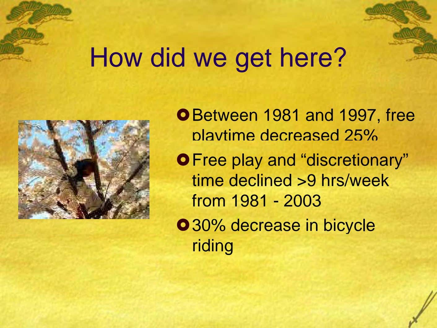 How did we get here? Between 1981 and 1997, free playtime decreased 25% Free play and