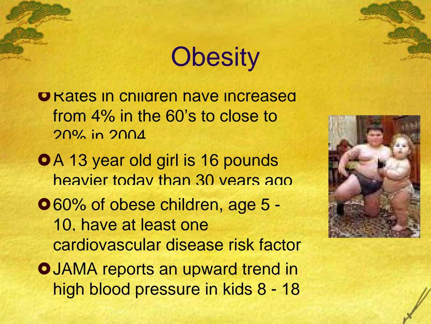 Obesity Rates in children have increased from 4% in the 60's to close to 20% in