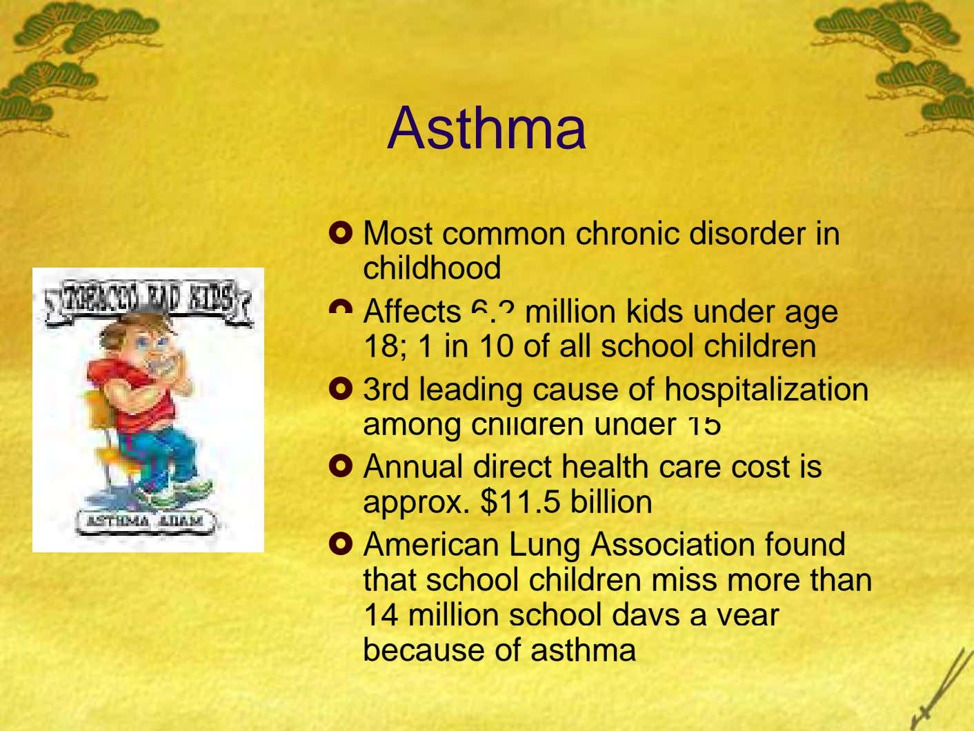 Asthma Most common chronic disorder in childhood Affects 6.2 million kids under age 18; 1 in