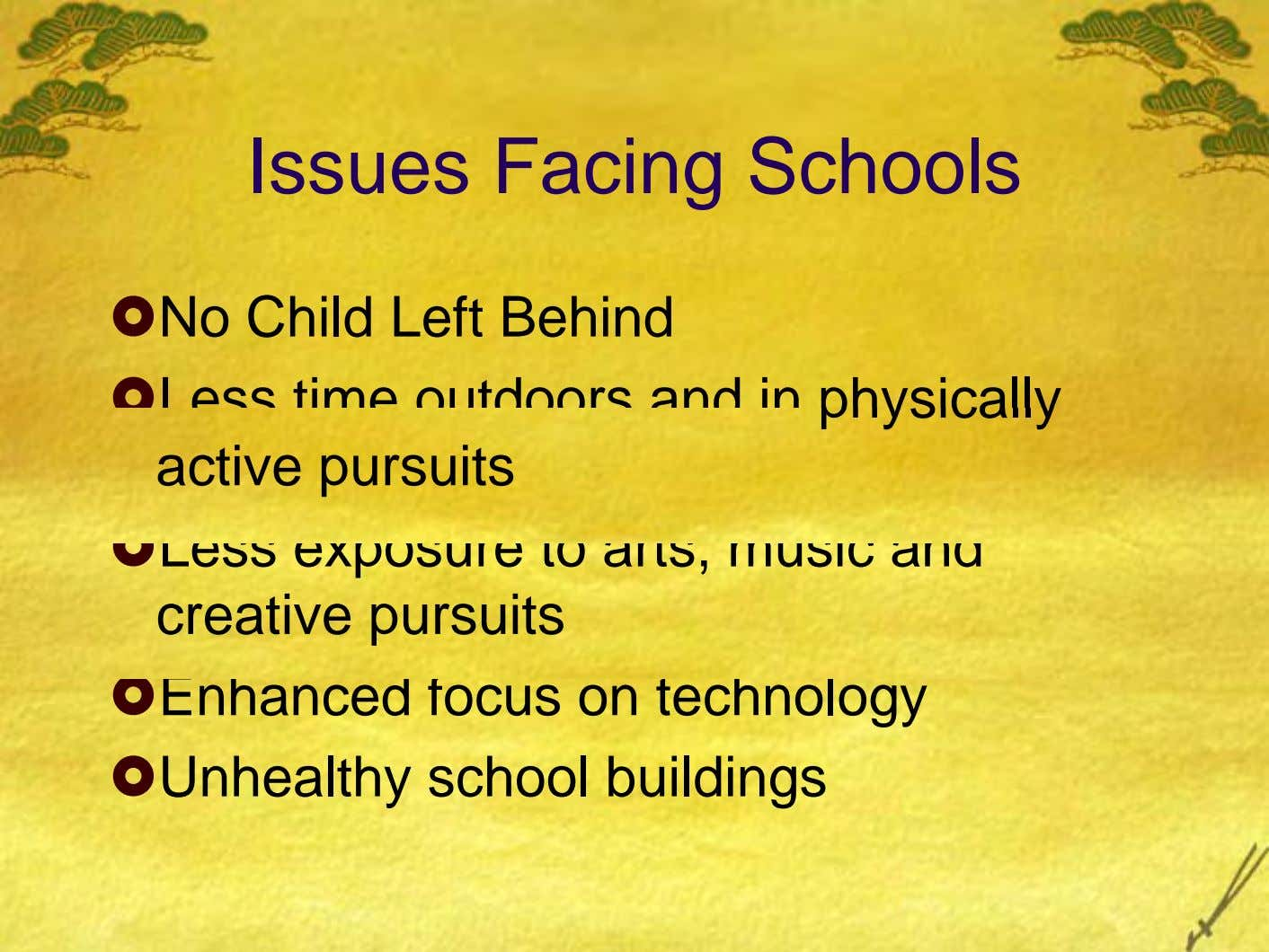 Issues Facing Schools No Child Left Behind Less time outdoors and in physically active pursuits Less