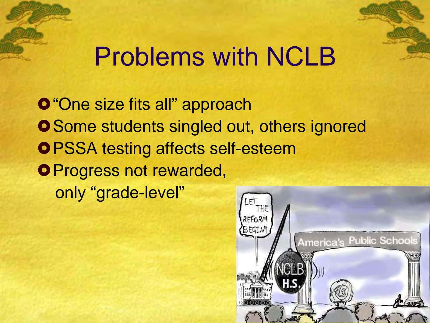 "Problems with NCLB ""One size fits all"" approach Some students singled out, others ignored PSSA testing"