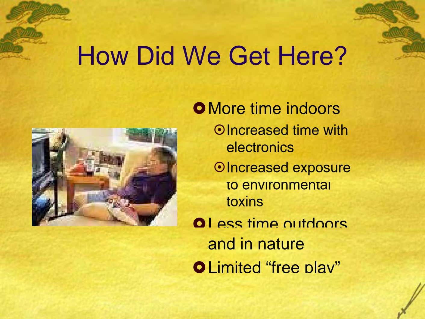 How Did We Get Here? More time indoors Increased time with electronics Increased exposure to environmental