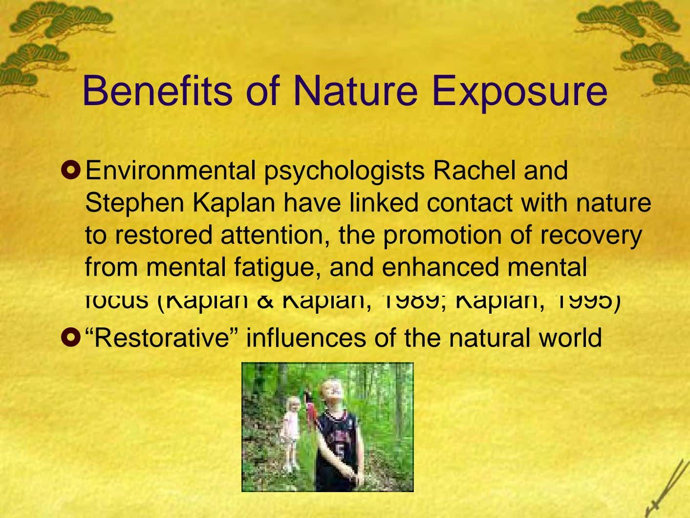 Benefits of Nature Exposure Environmental psychologists Rachel and Stephen Kaplan have linked contact with nature to