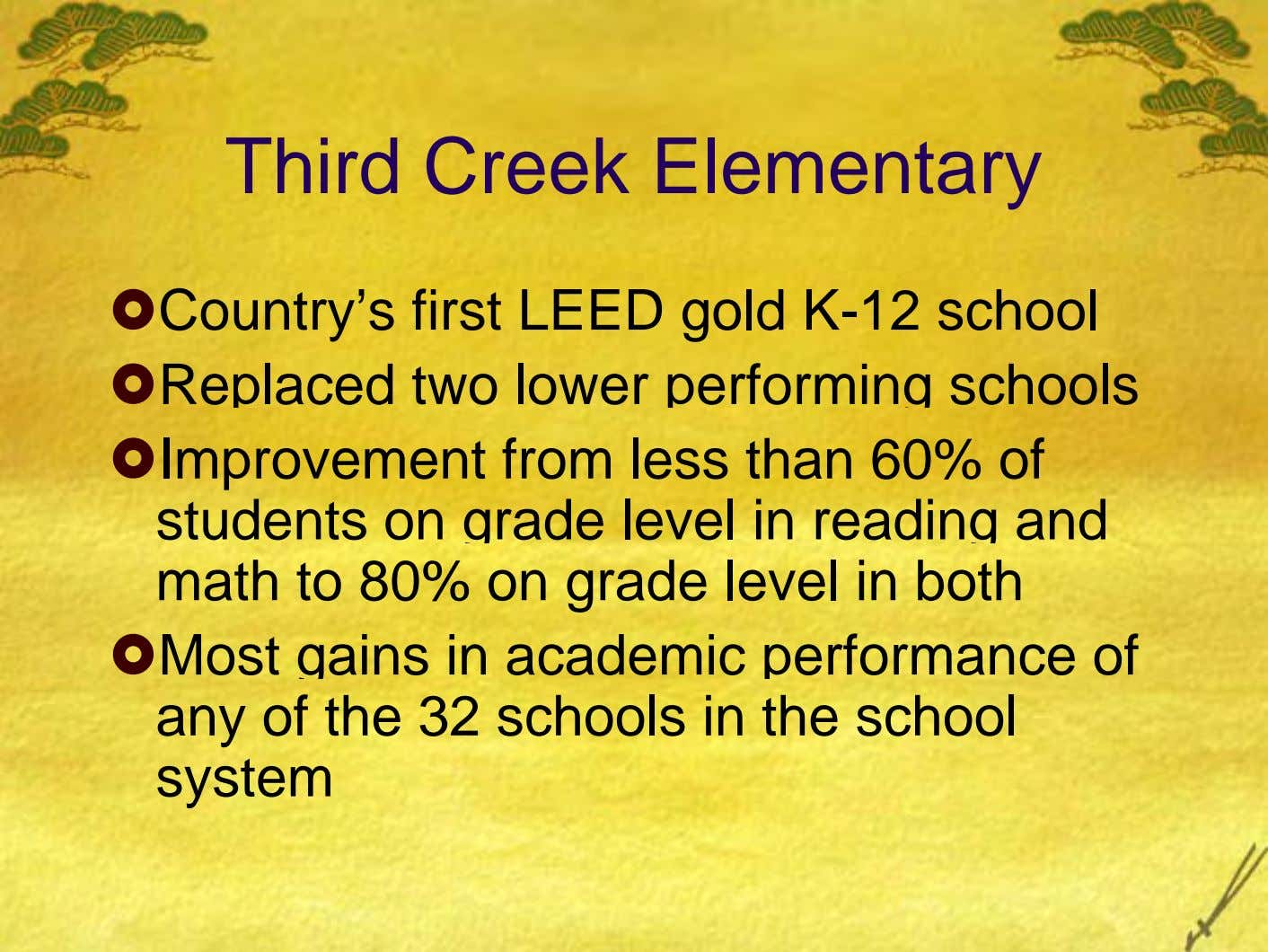 Third Creek Elementary Country's first LEED gold K-12 school Replaced two lower performing schools Improvement from