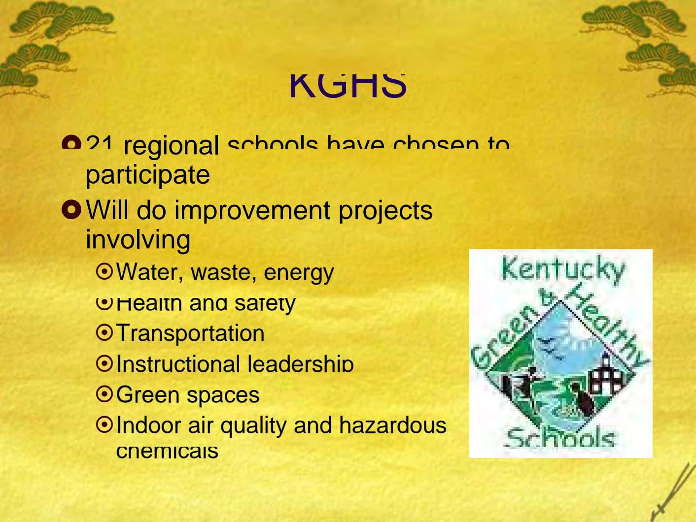 KGHS 21 regional schools have chosen to participate Will do improvement projects involving Water, waste, energy
