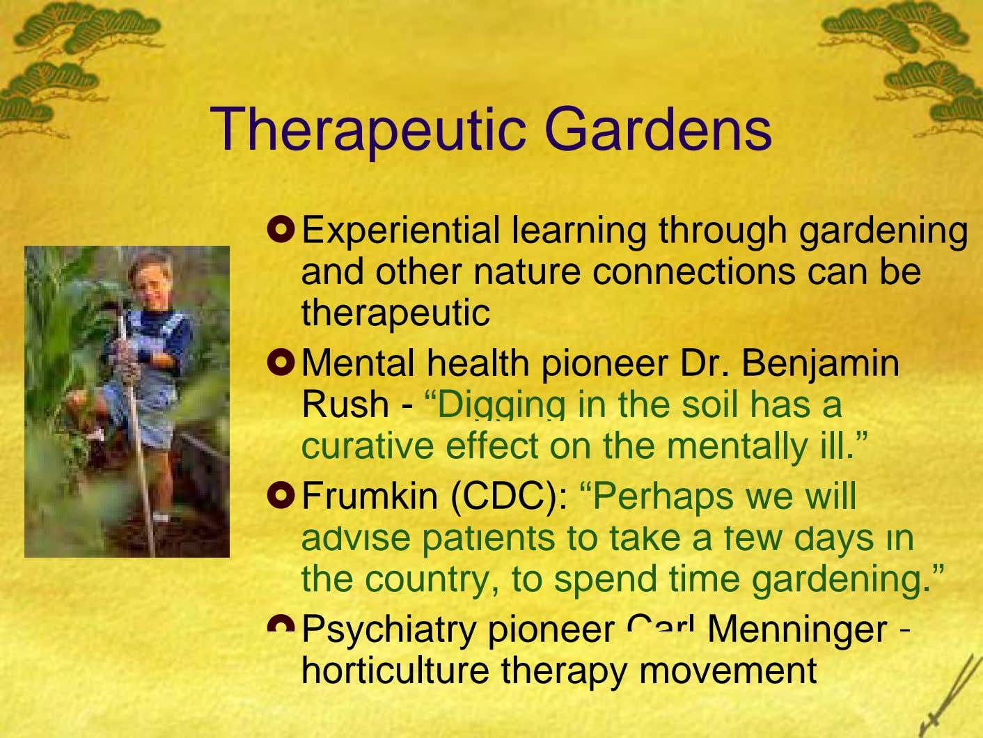 Therapeutic Gardens Experiential learning through gardening and other nature connections can be therapeutic Mental health pioneer