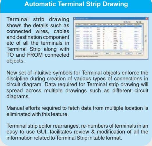Terminal strip drawing shows the details such as connected wires, cables and destination component etc
