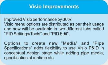 Visio Improvements Improved Visio performance by 30%. Visio menu options are distributed as per their
