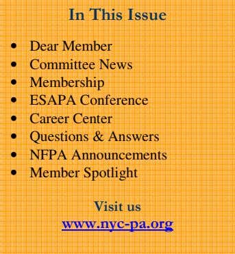 In This Issue • Dear Member • Committee News • Membership • ESAPA Conference •