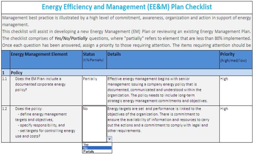 checklist. Exhibit 42: Example of EE&M Plan Checklist The EE&M Plan Checklist section of the questionnaire