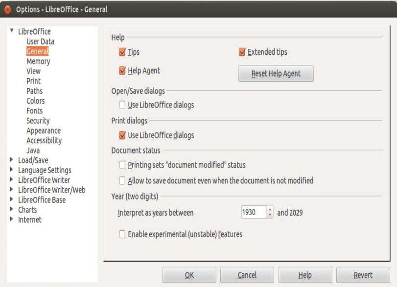 Horizontal scrollbar , respectiv Vertical scrollbar. Fig. 14 - Caseta de dialog Options – LibreOffice -
