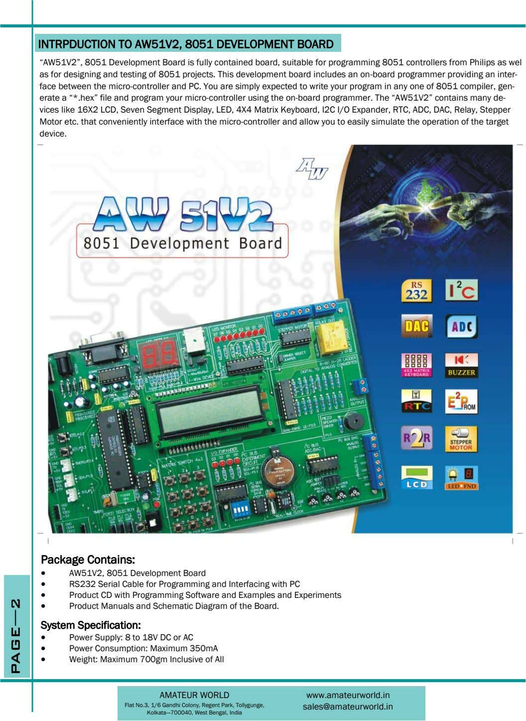 "INTRPDUCTION TO AW51V2, 8051 DEVELOPMENT BOARD ""AW51V2"", 8051 Development Board is fully contained board, suitable"