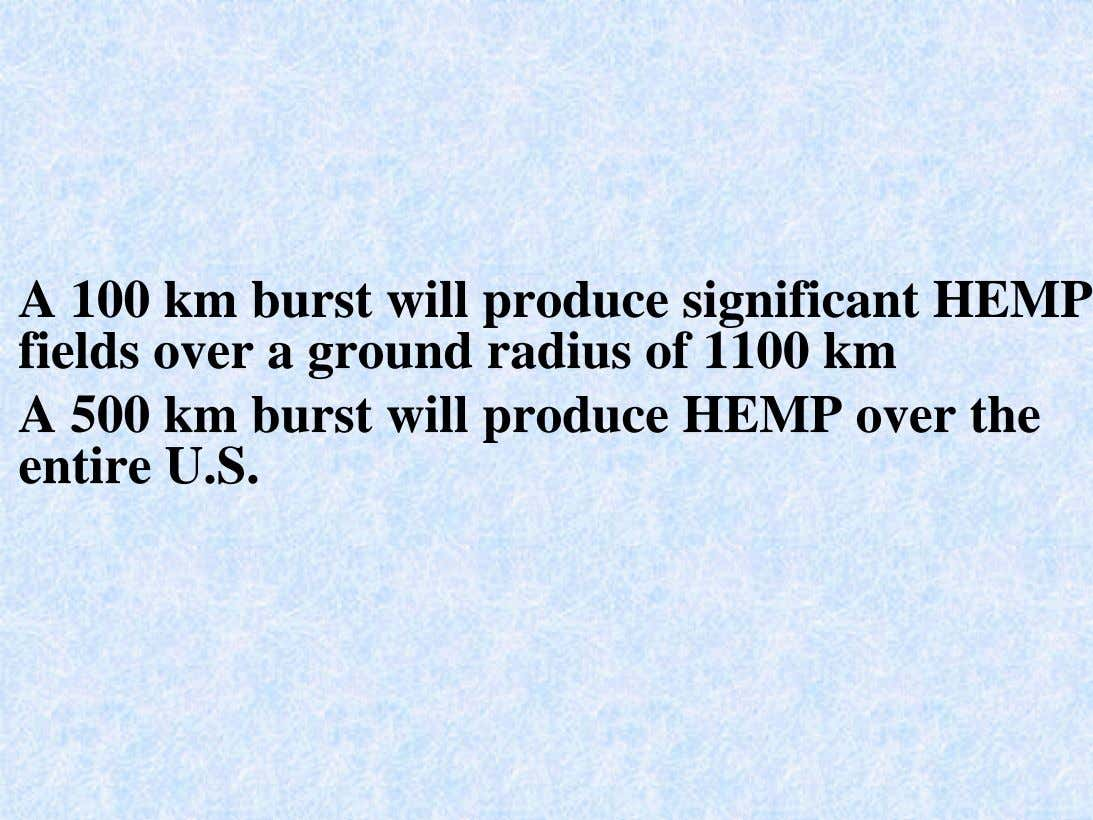 A 100 km burst will produce significant HEMP fields over a ground radius of 1100