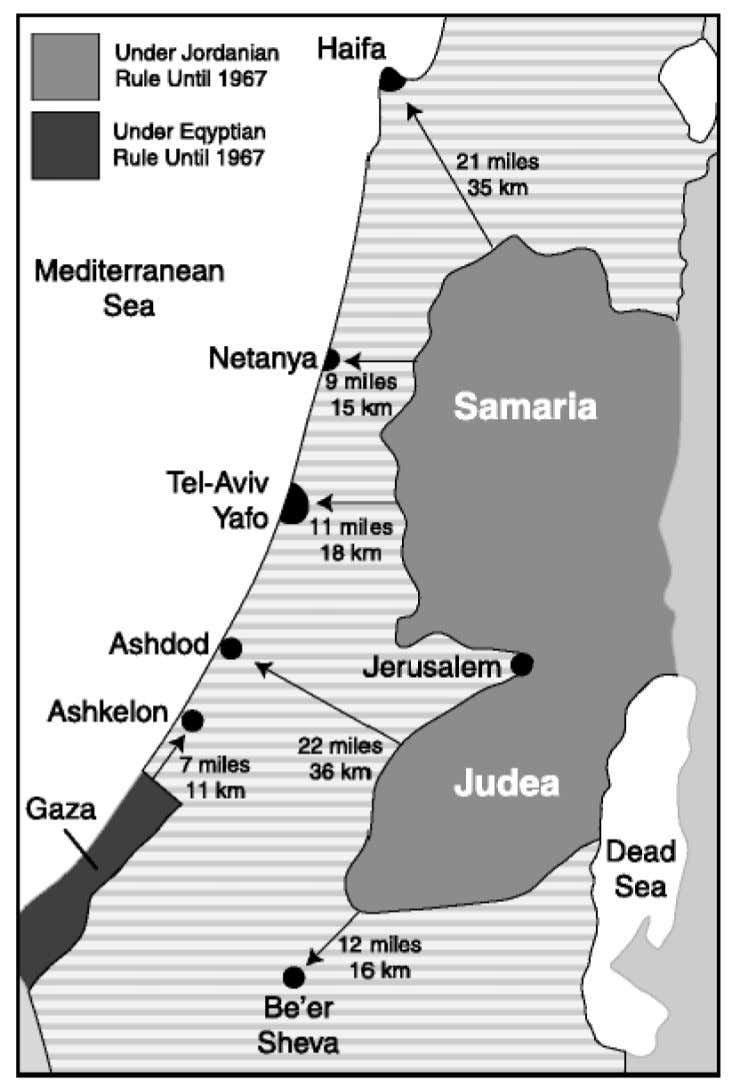 SUBJECT: MAPS Distances Between Israeli Population Centers and Pre-1967 Armistice Lines. 77