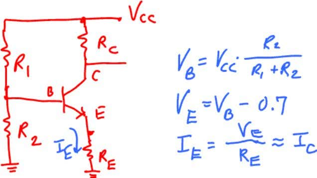 Dr. Charles Kim By the voltage divider ru le, the Base voltage is V B =