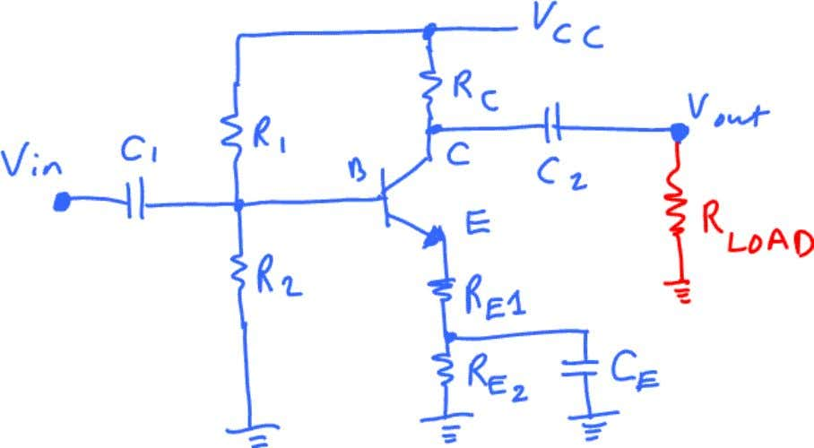 gain. The Common Emitter Amplifier circuit is shown below: As you see above, part of the