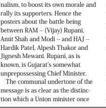 Chief Minister. The communal undertone of the message is as clear as the distinc‑ tion which