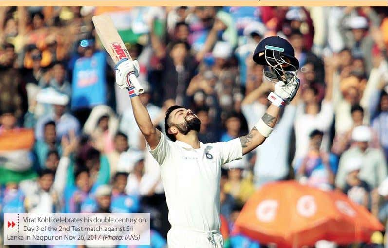 Virat Kohli celebrates his double century on 8 Day 3 of the 2nd Test match