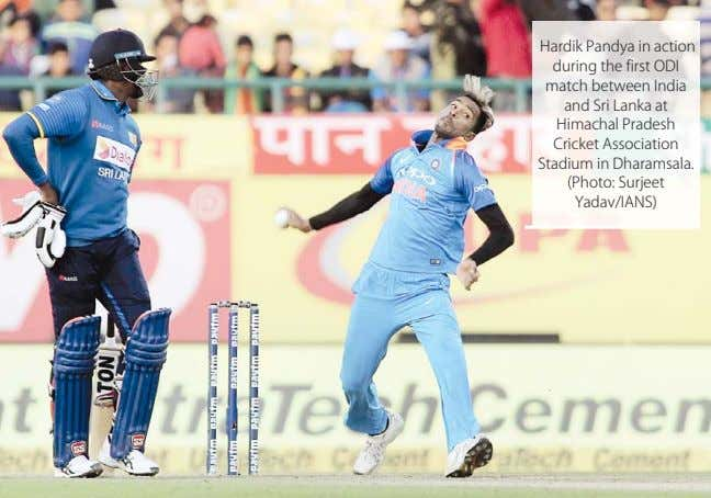 Hardik Pandya in action during the first ODI match between India and Sri Lanka at