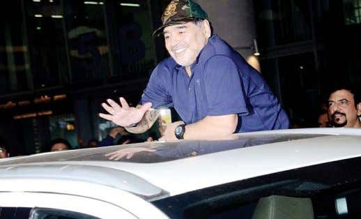 Maradona in Kolkata on three‑day visit Argentine football legend Diego Maradona in Kolkata. (Photo: IANS) Ko
