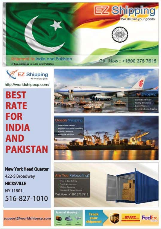 BEST RATE FOR INDIA AND PAKISTAN New York Head Quarter 422‑S Broadway HICKSVILLE NY 11801