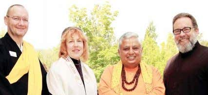 wide mandala, costing about $5,000, was accidently cov‑ (R to L):Stephen R. Karcher, Rajan Zed, ElizaBeth