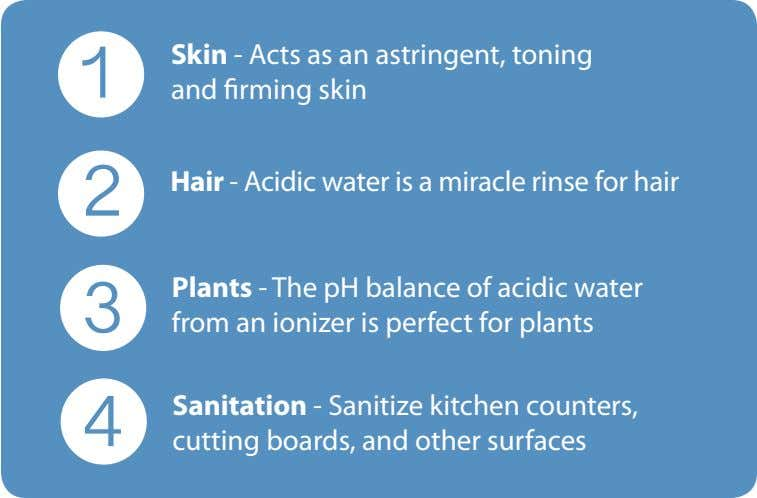 1 Skin - Acts as an astringent, toning and firming skin 2 Hair - Acidic