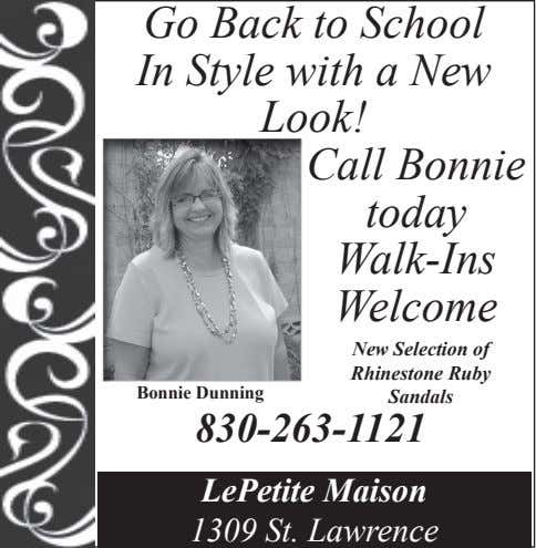 Go Back to School In Style with a New Look! Call Bonnie today Walk-Ins Welcome
