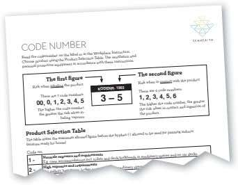 CODE NUMBER Read the codenumber on the label or in the Workplace Instruction. Choose product