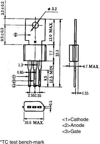 <1>Cathode <2>Anode <3>Gate *TC test bench-mark