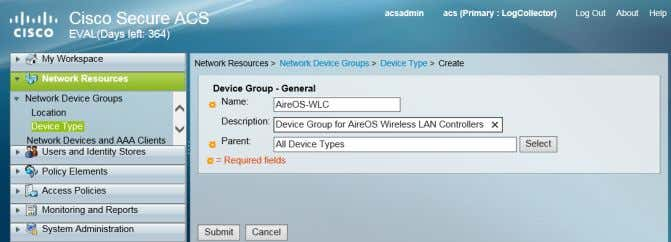 box, select All Device Types , and then click Submit . Procedure 2 Create the TACACS+