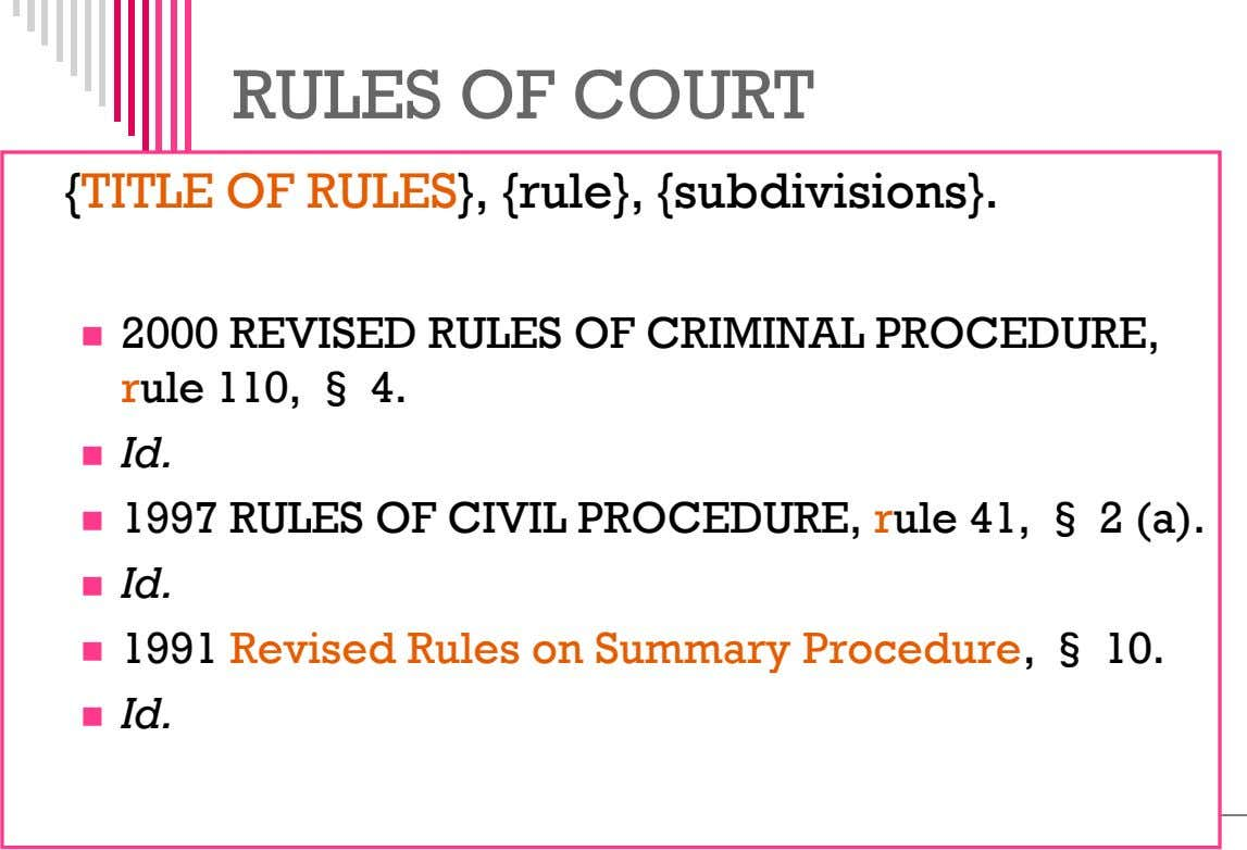 RULES OF COURT {TITLE OF RULES}, {rule}, {subdivisions}.  2000 REVISED RULES OF CRIMINAL PROCEDURE,