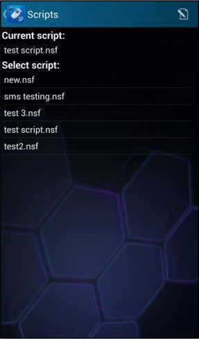 the touchpad. For more information, see Creating scripts). Next, select a script file from the list