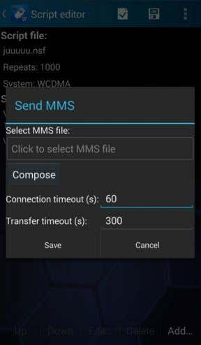 MMS, select Add | Send MMS in the Script Editor main view. Select MMS file defines