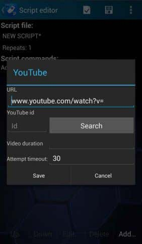 select Add | YouTube in the Script Editor main view. URL defines the link to the