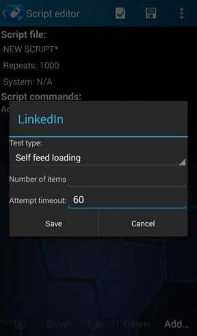 NEMO HANDY-A USER MANUAL 5.2.16 Scripted LinkedIn testing Test type defines whether you are testing self