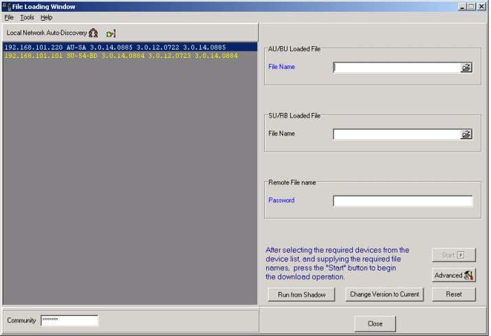 . The File Loading Window is displayed, as shown below. Figure 1-13: File Loading Window The