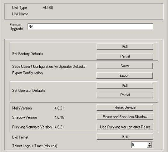 software versions in the selected unit(s), as shown below. Figure 2-1: Unit Control Parameters The Unit