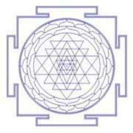 in nine enclosures ( navavarana s), in groups of three. The intersection of two lines is
