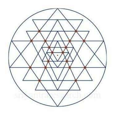 A total of 43 triangles are created from the overlapping of the nine original triangles.