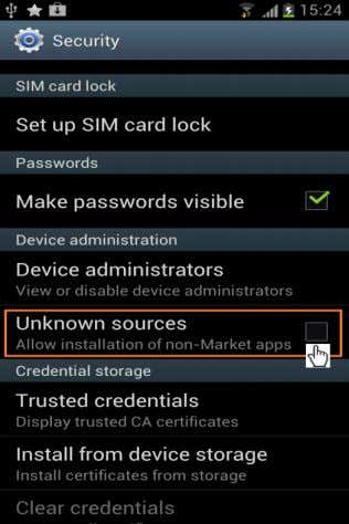 Steps: · Tap on Settings · Select Security (Fig-1) · Tap to Check Unknown Sources (Fig-1-a)