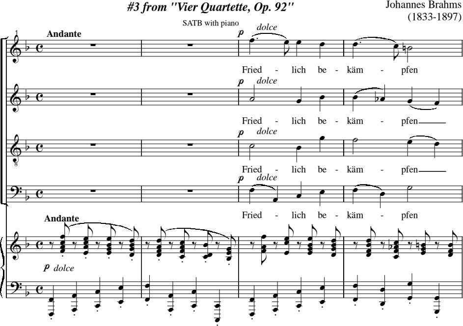 "Johannes Brahms #3 from ""Vier Quartette, Op. 92"" (1833-1897) SATB with piano p dolce 1"