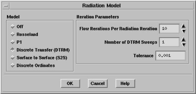 the ray tracing. Define −→ Models −→ Radiation (a) Select Discrete Transfer under Model . The
