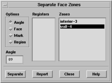 single wall zone into four wall zones. Grid −→ Separate −→ Faces c Fluent Inc. November