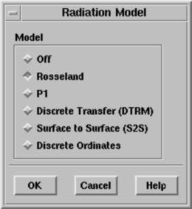 radiation model. Define −→ Models −→ Radiation When you click OK in the Radiation Model panel,