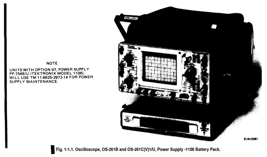 Fig. 1-1.1. Oscilloscope, OS-261B and OS-261C(V)1/U, Power Supply -1106 Battery Pack.